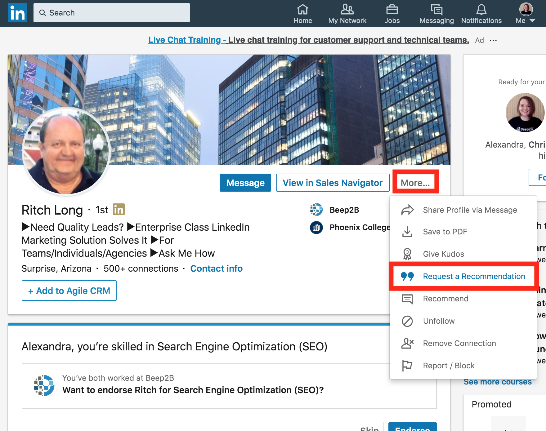 Screenshot of how to find the LinkedIn Recommendations button on a LinkedIn profile