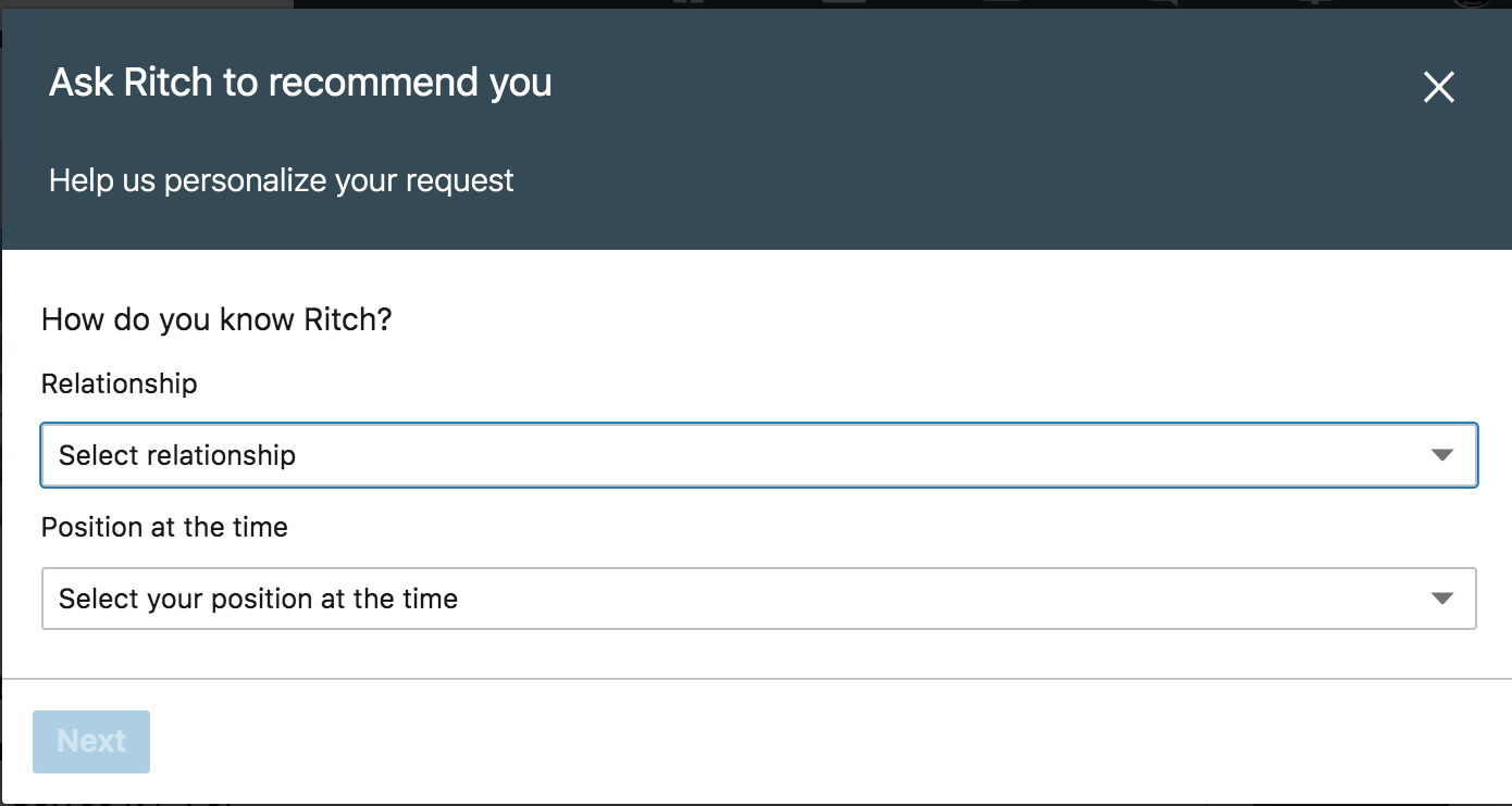 LinkedIn window to request a recommendation